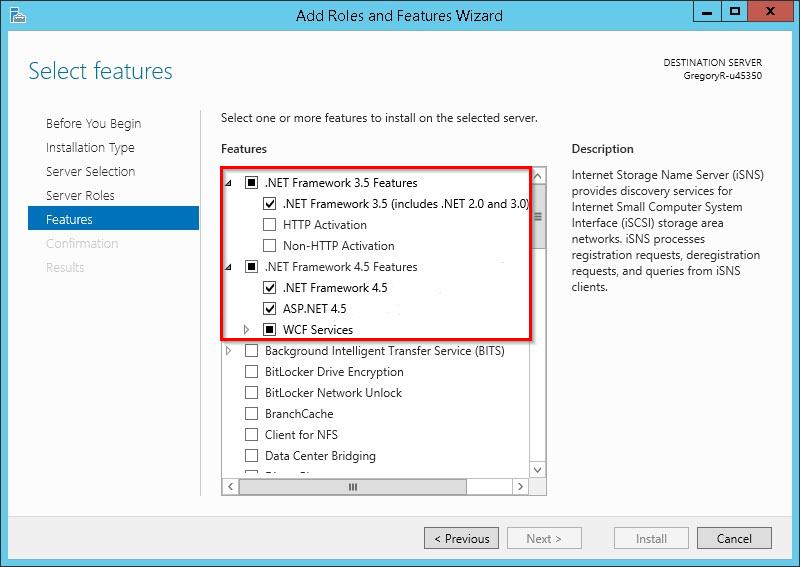 Установка ASP.NET на Windows Server 2012