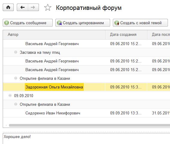 Корпоративный форум в системе документооборота