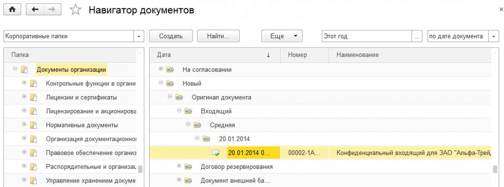Пример иерархической группировки документов