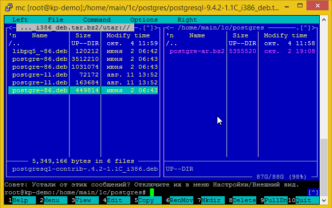 Распаковка пакетов deb для установки 1С сервера на ubuntu